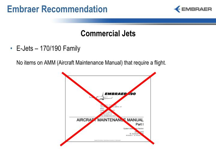 Embraer Recommendation