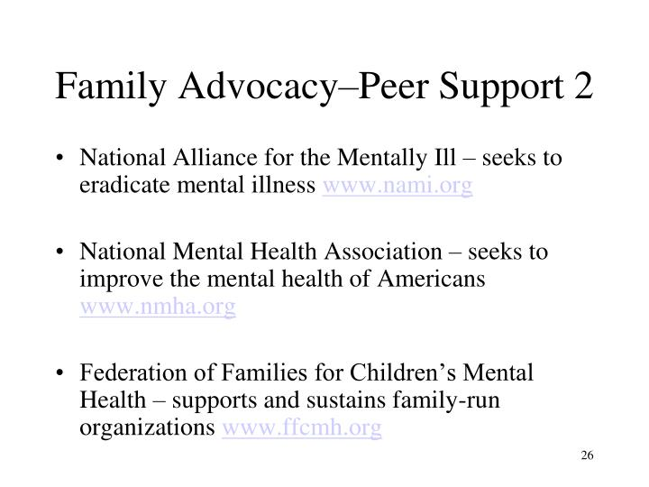 Family Advocacy–Peer Support 2