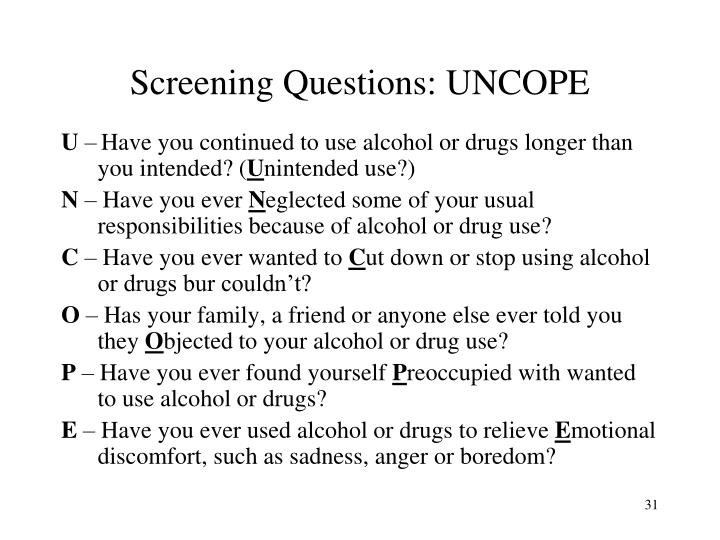 Screening Questions: UNCOPE