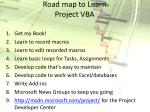road map to learn project vba