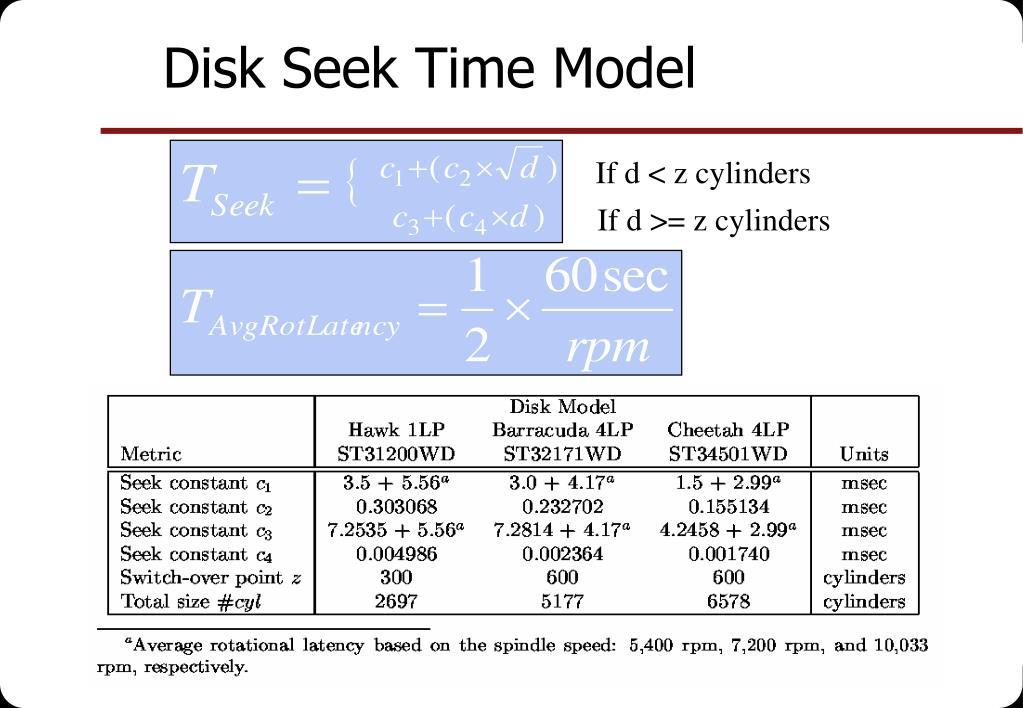 Disk Seek Time Model