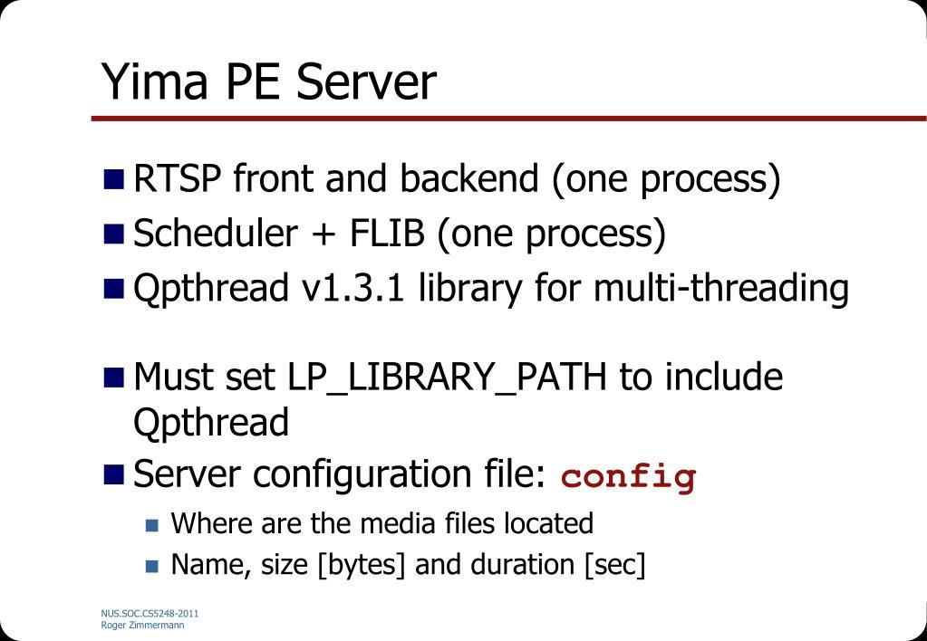 Yima PE Server