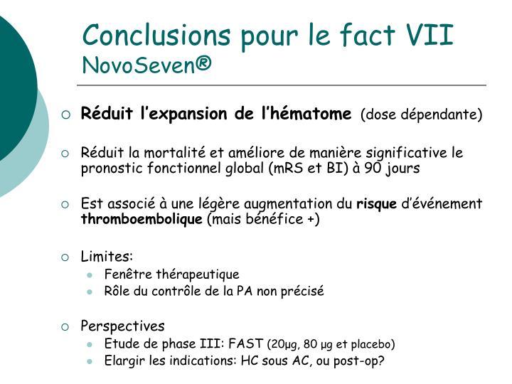 Conclusions pour le fact VII