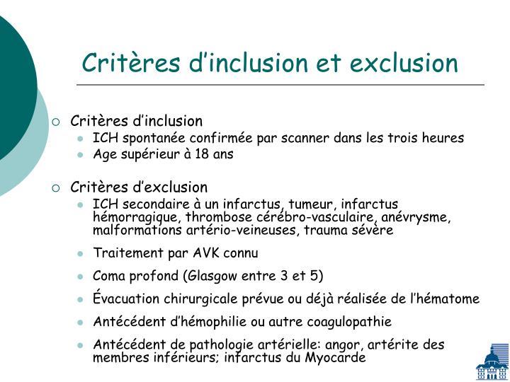 Critères d'inclusion et exclusion