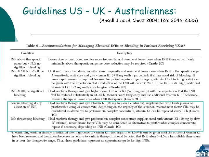 Guidelines US – UK - Australiennes: