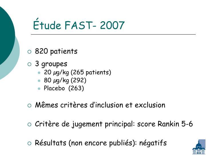 Étude FAST- 2007
