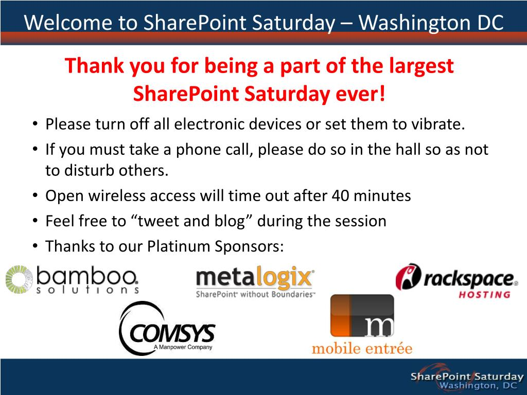 Welcome to SharePoint Saturday – Washington DC