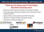 welcome to sharepoint saturday washington dc
