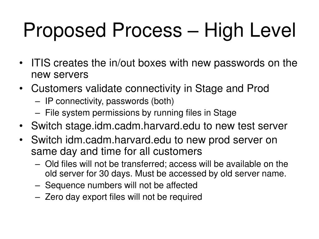 Proposed Process – High Level