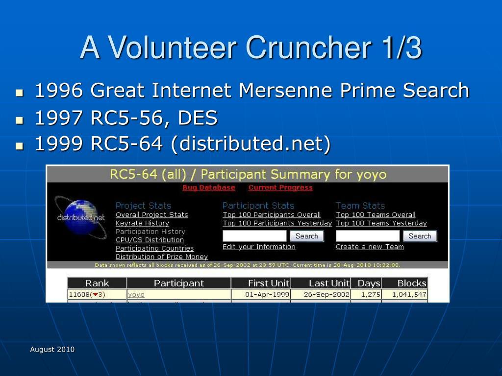 A Volunteer Cruncher 1/3