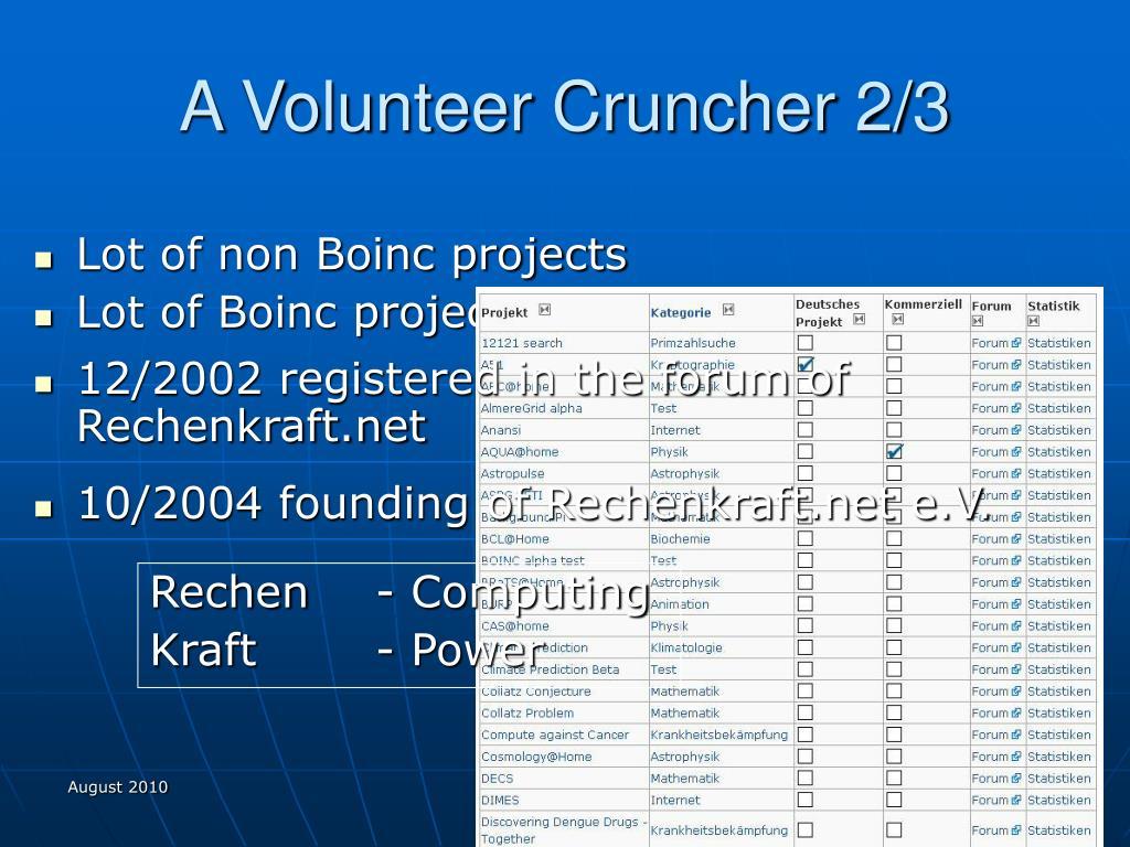 A Volunteer Cruncher 2/3