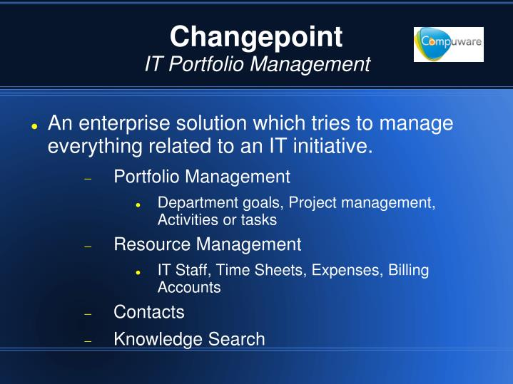Changepoint it portfolio management