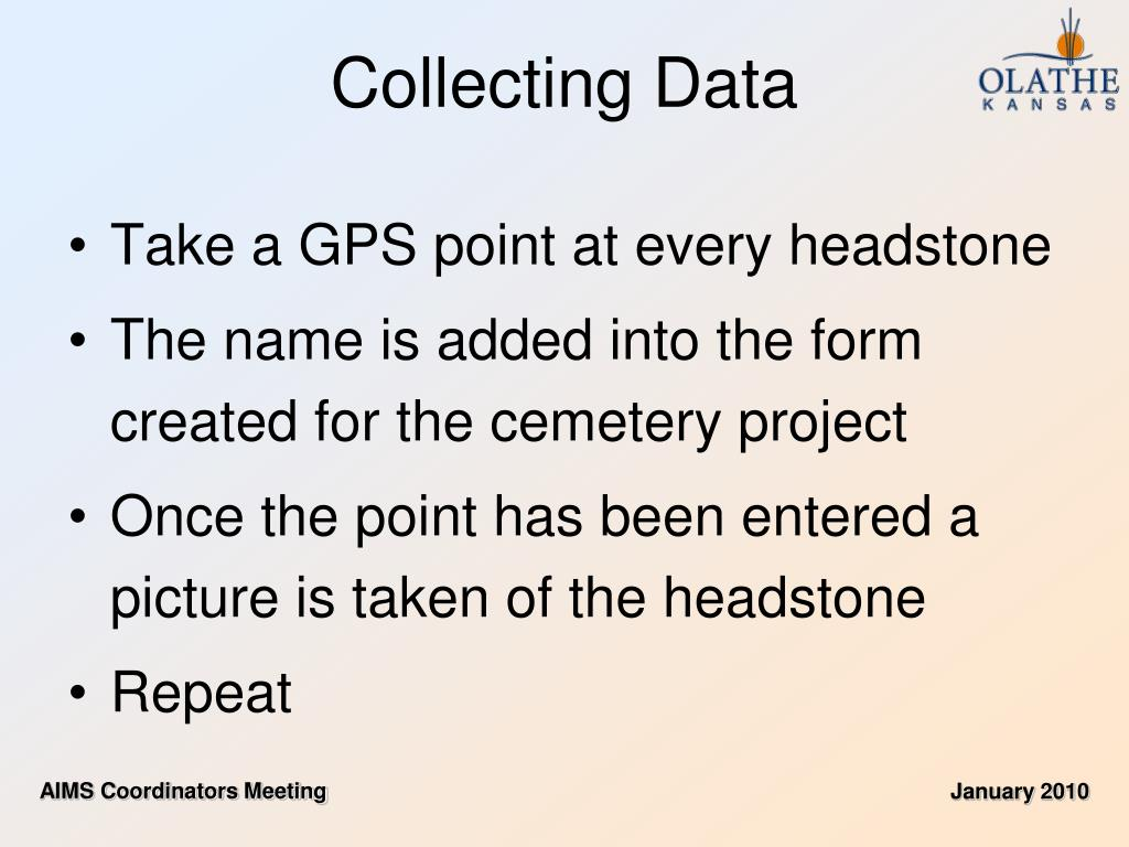 Take a GPS point at every headstone