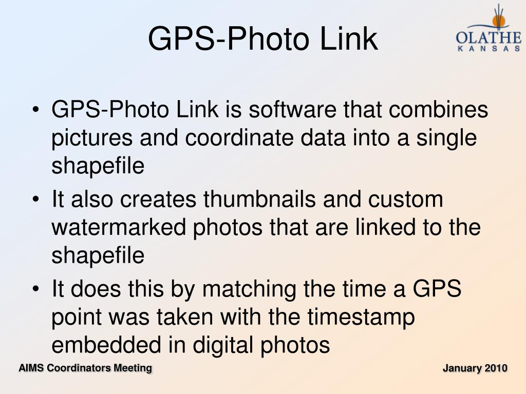 GPS-Photo Link is software that combines pictures and coordinate data into a single shapefile