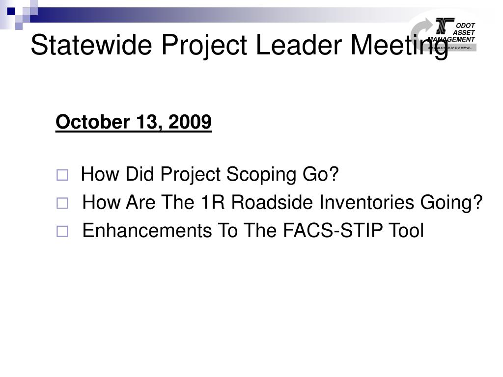 Statewide Project Leader Meeting