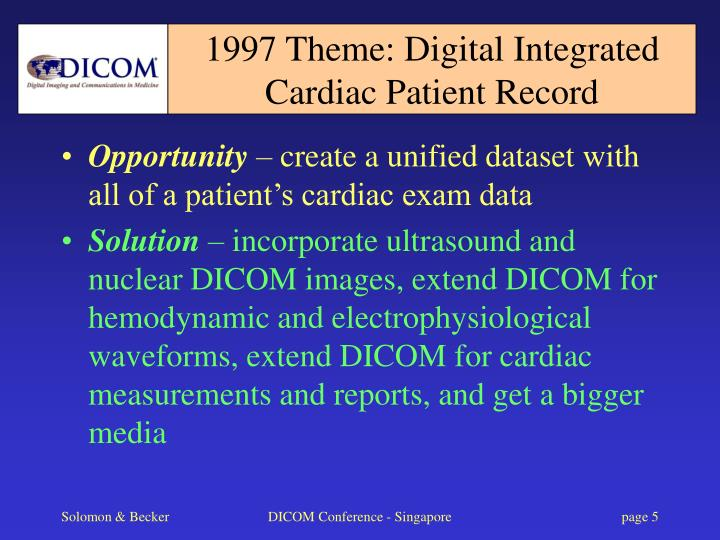 1997 Theme: Digital Integrated Cardiac Patient Record