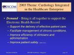 2003 theme cardiology integrated in the healthcare enterprise