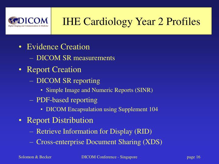 IHE Cardiology Year 2 Profiles