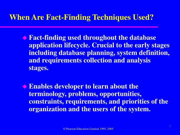 fact finding techniques System analysis fact finding methods 1 the systems life cycle twittercom/moshikur 2 systems analysis the process of investigation of a system's operation with a view to changing it to new requirements or improving its current working 3.