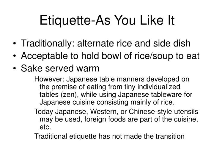 Etiquette-As You Like It