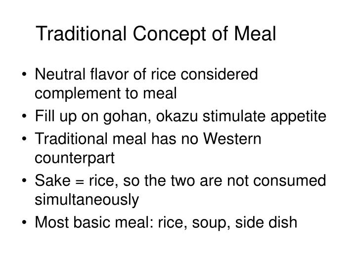 Traditional Concept of Meal
