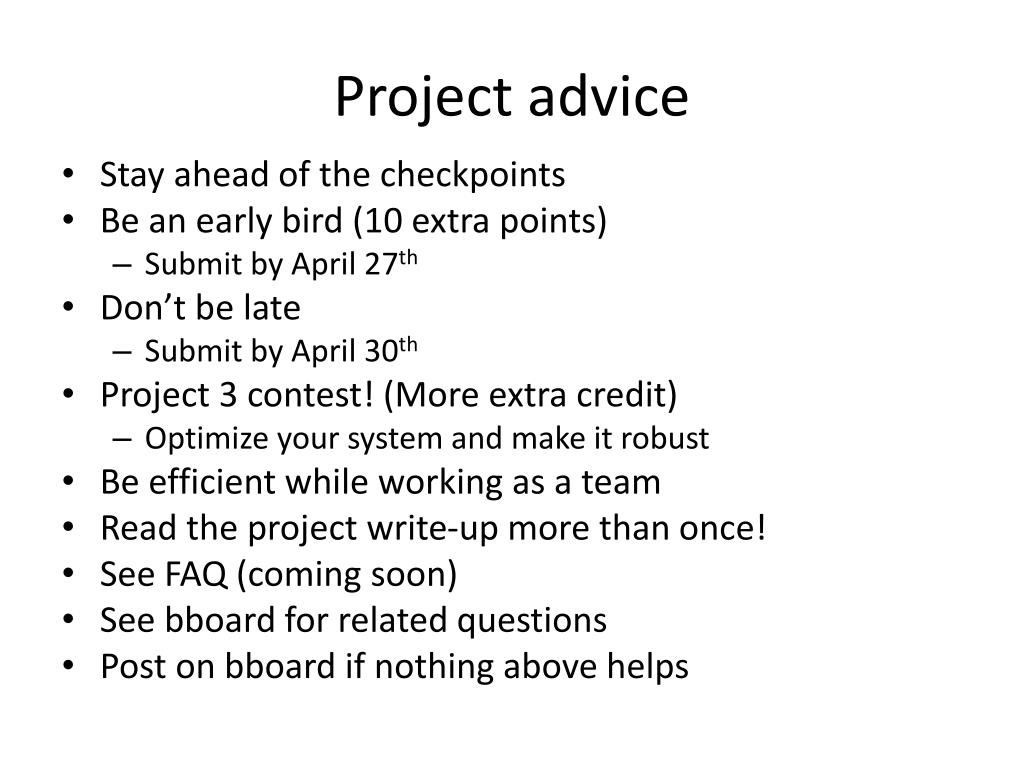 Project advice