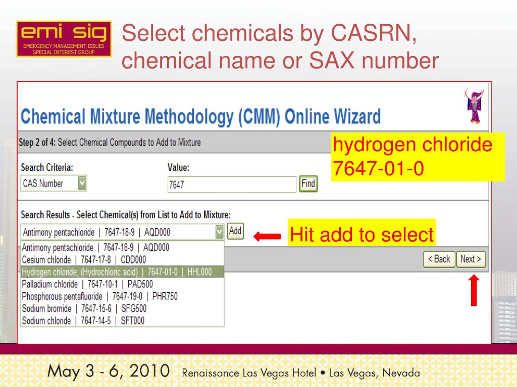 Select chemicals by CASRN, chemical name or SAX number