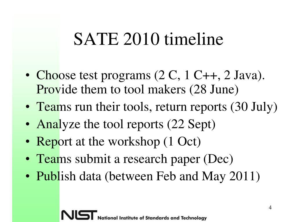 SATE 2010 timeline