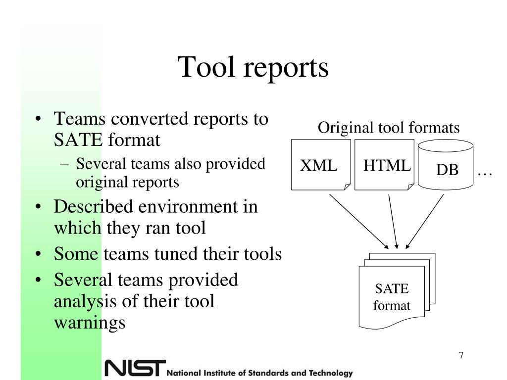 Tool reports