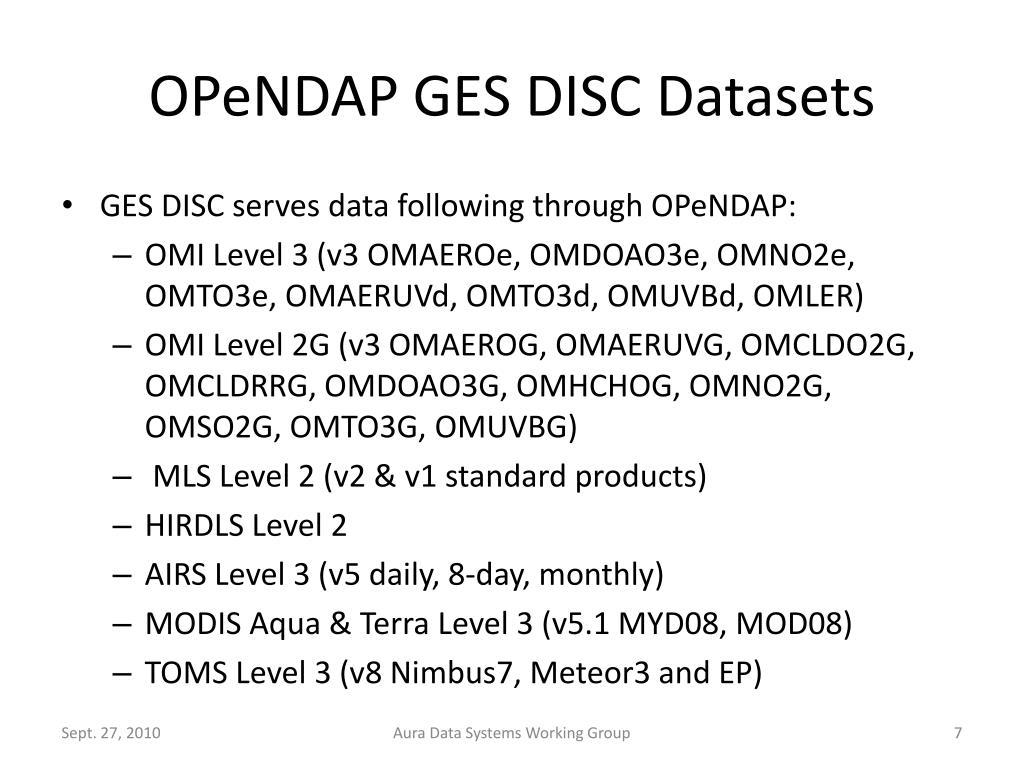 OPeNDAP GES DISC Datasets