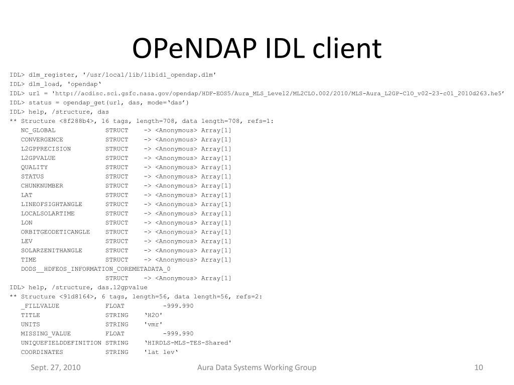 OPeNDAP IDL client