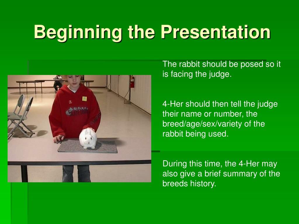 Beginning the Presentation
