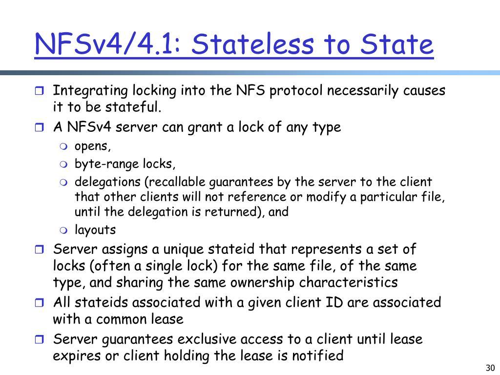 NFSv4/4.1: Stateless to State