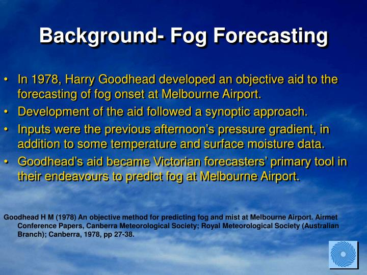 Background- Fog Forecasting