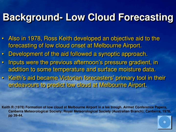 Background- Low Cloud Forecasting