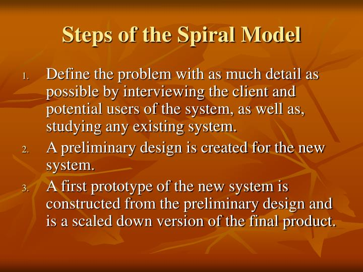 Steps of the Spiral Model