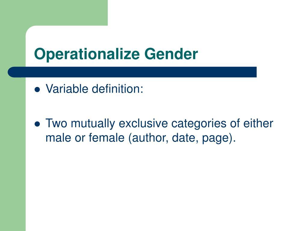 Operationalize Gender