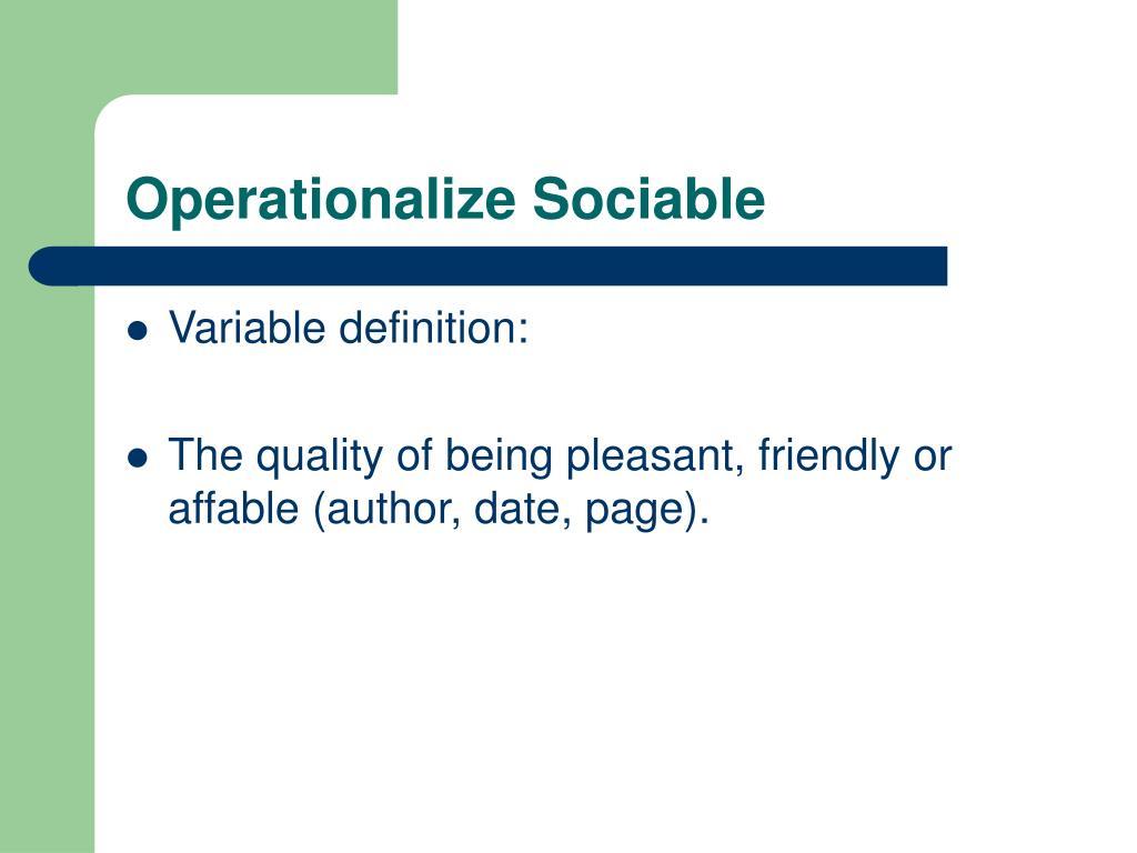 Operationalize Sociable