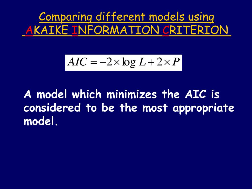 Comparing different models using