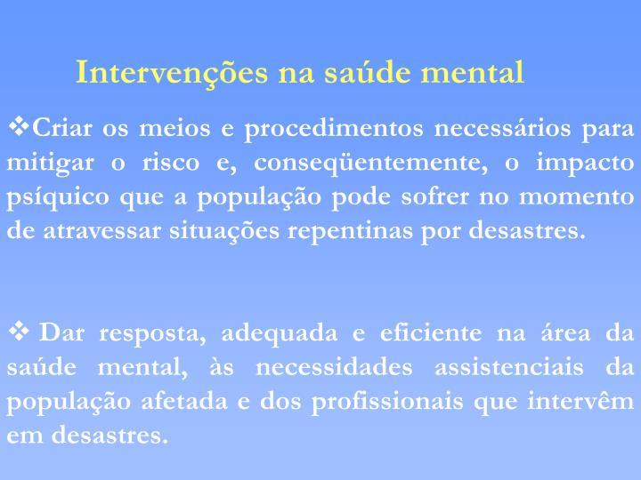 Intervenções na saúde mental