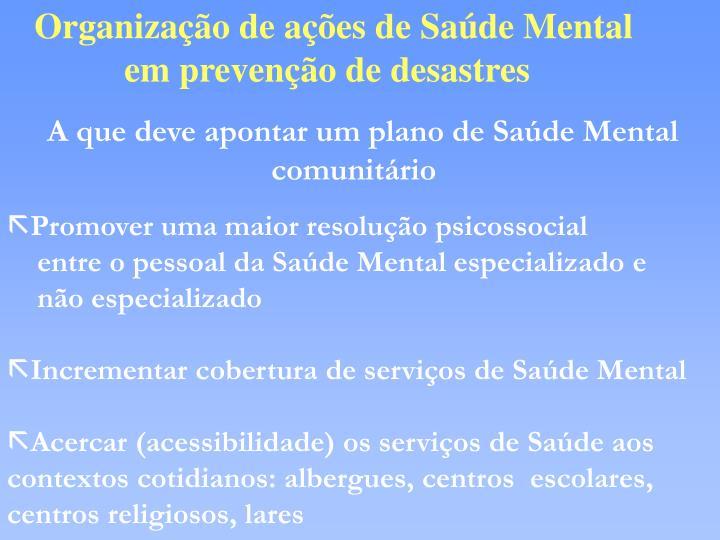 Organização de ações de Saúde Mental