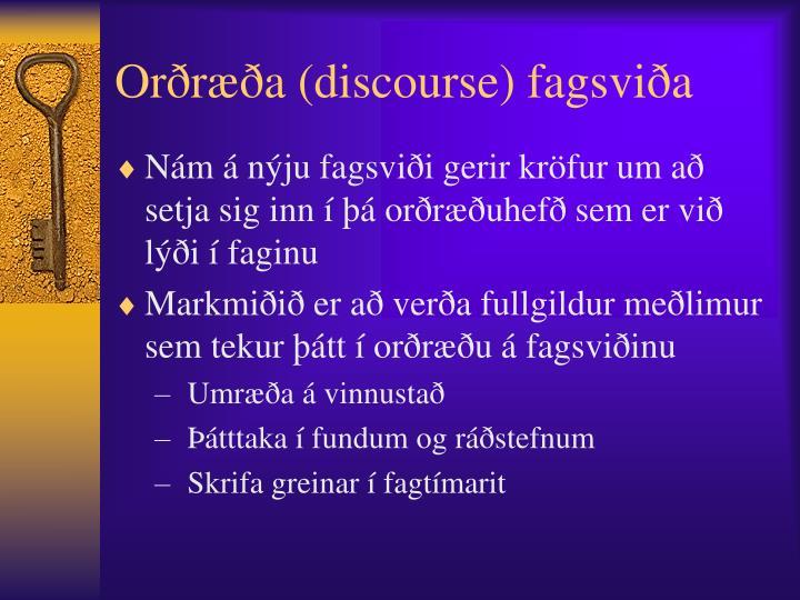 Orðræða (discourse) fagsviða