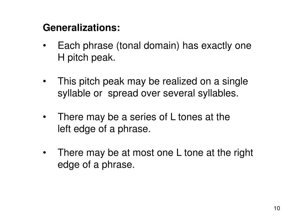 Generalizations: