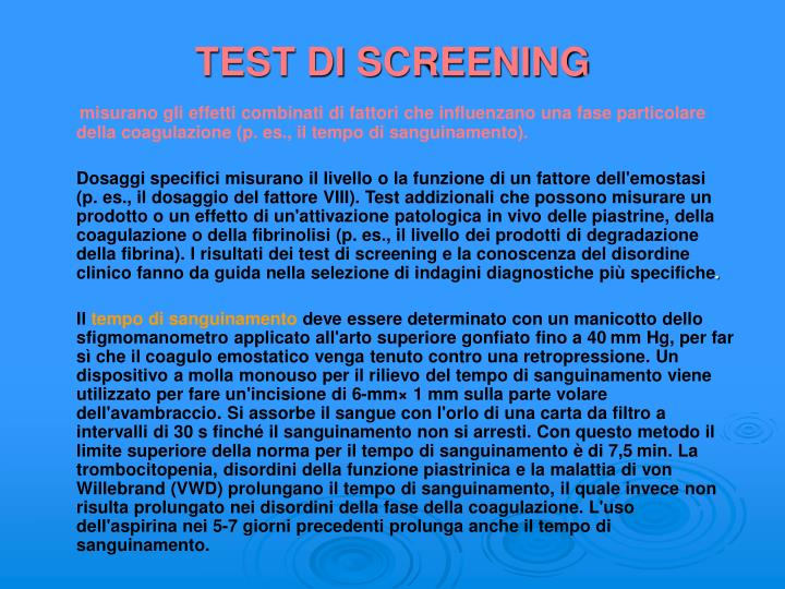 TEST DI SCREENING