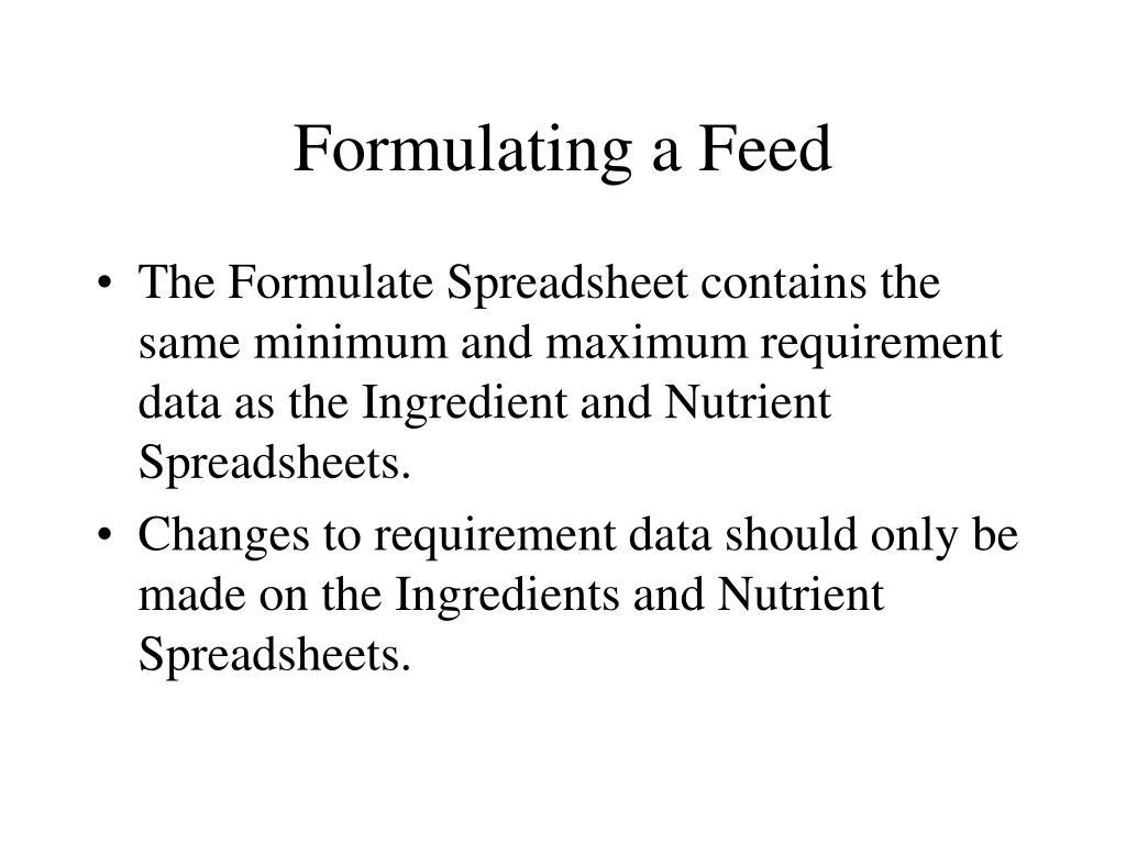 Formulating a Feed