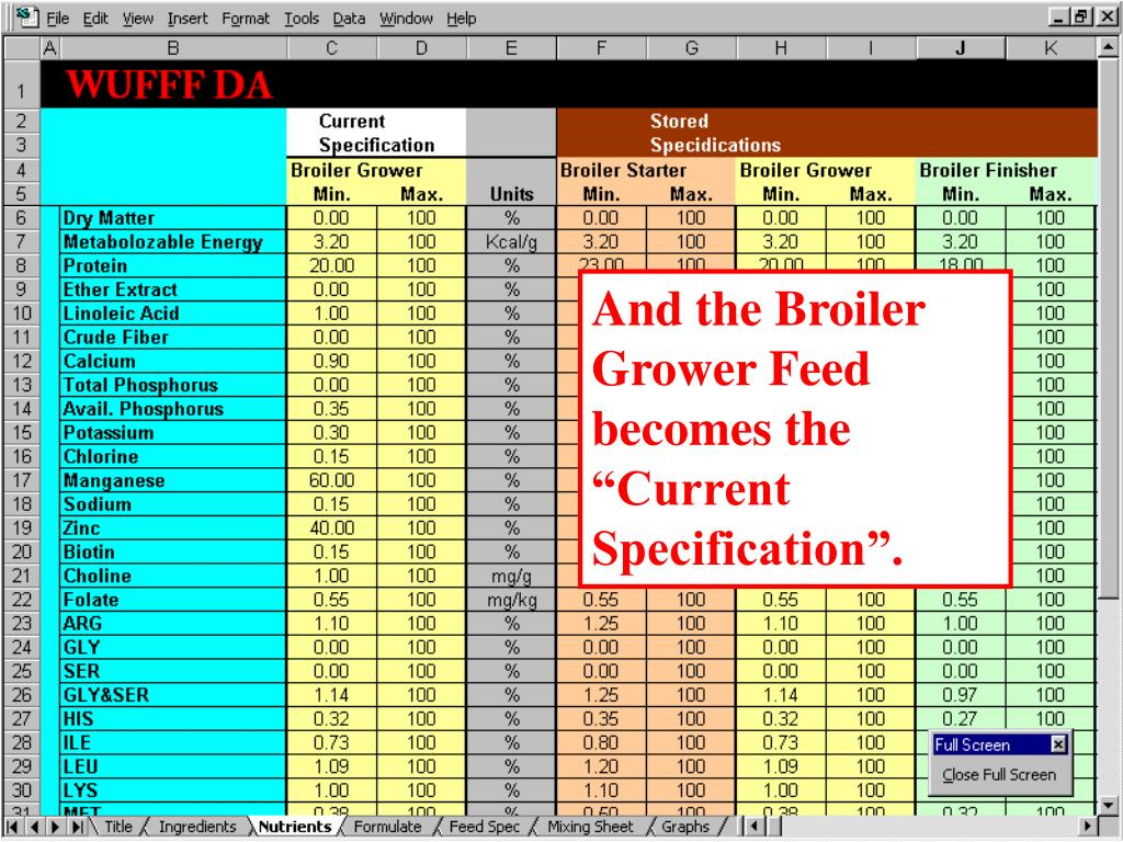 "And the Broiler Grower Feed becomes the ""Current Specification""."