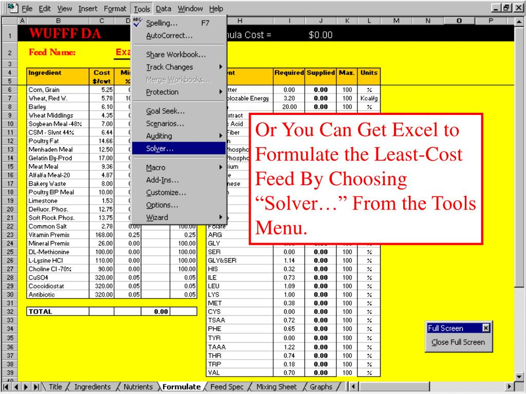 "Or You Can Get Excel to Formulate the Least-Cost Feed By Choosing ""Solver…"" From the Tools Menu."