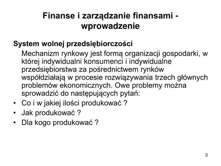 Finanse i zarządzanie finansami - wprowadzenie