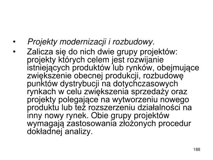Projekty modernizacji i rozbudowy.