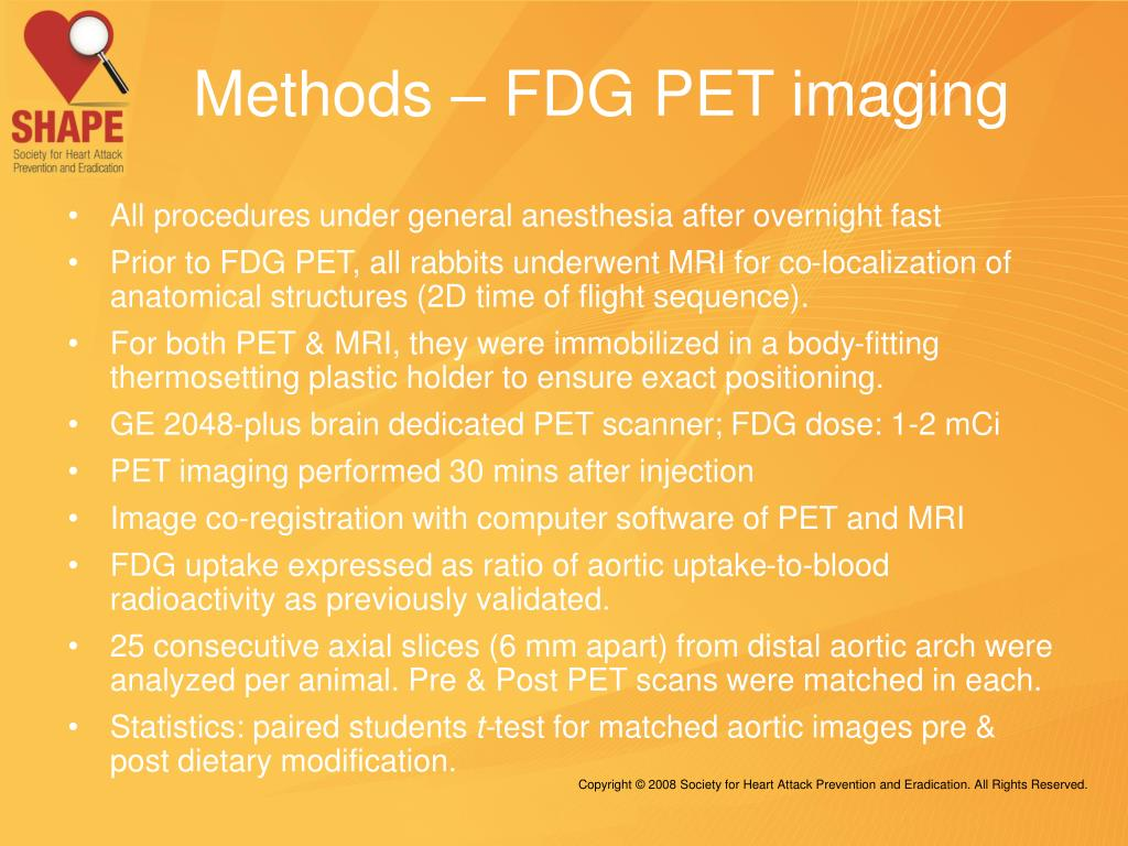 Methods – FDG PET imaging
